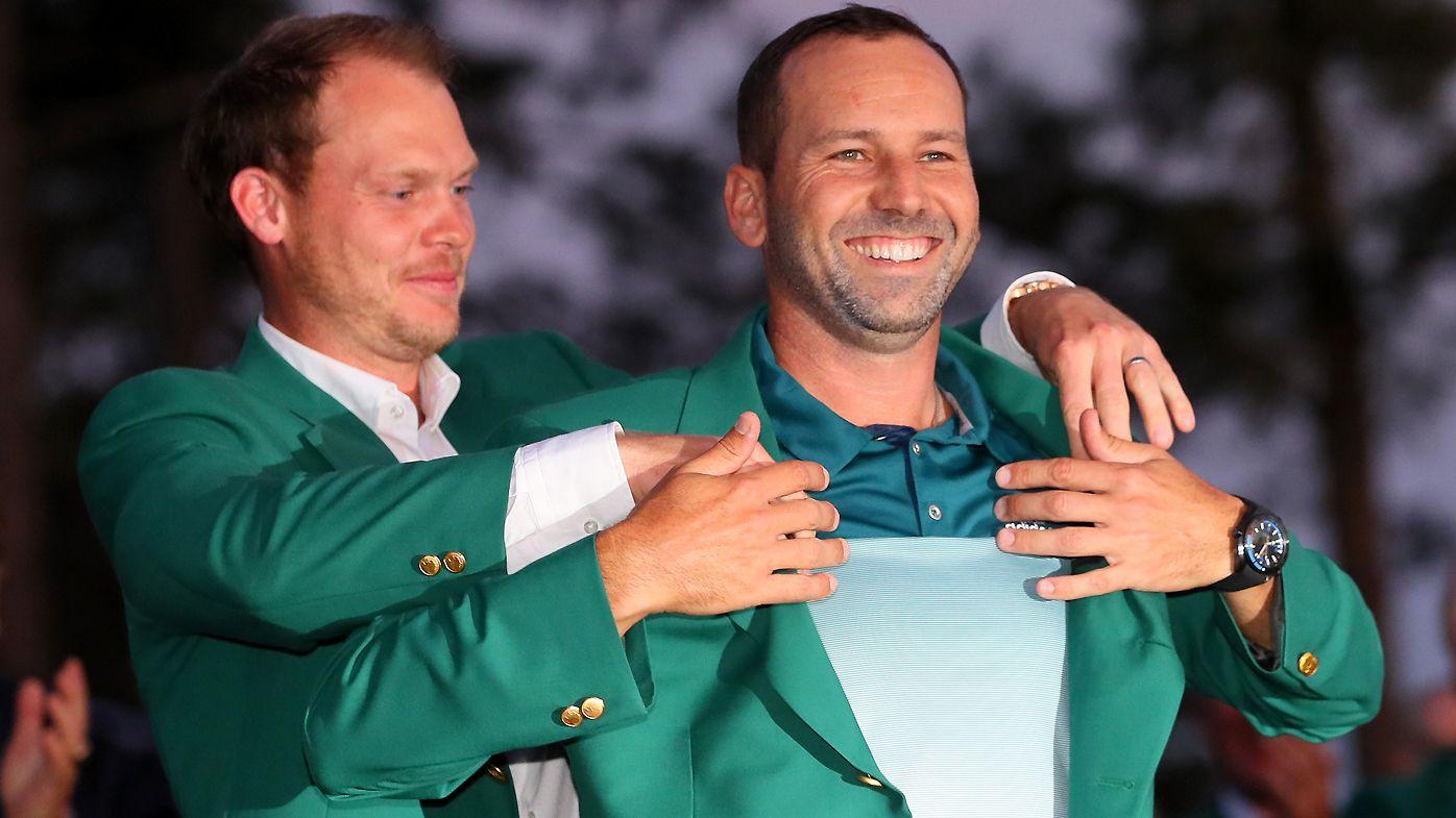 Sergio Garcia receives his Masters Green Jacket