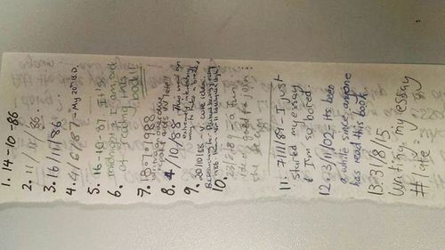 The note appeared to have been originally written in 1986 by a former student. (Facebook)