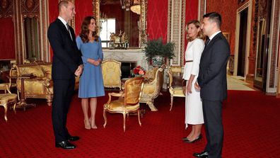 Prince William, Duke of Cambridge and Catherine, Duchess of Cambridge meet Ukraine's President Volodymyr Zelensky and his wife Olena during an audience at Buckingham Palace on October 7, 2020 in London, England.