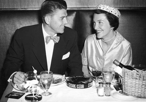 Ronald and Nancy Reagan on their honeymoon in 1952. (Getty)