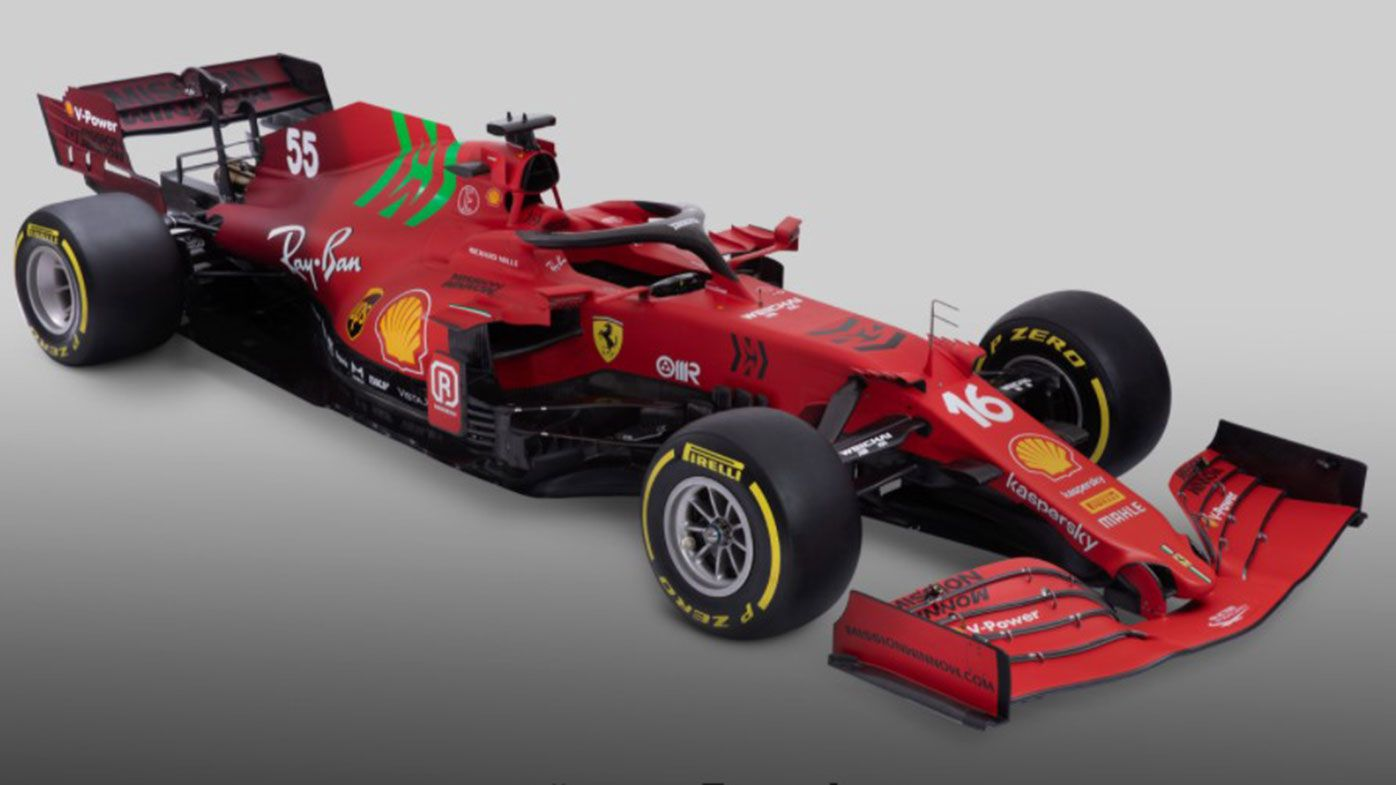 The Ferrari SF21, to be driven by Charles Leclerc and Carlos Sainz in 2021.