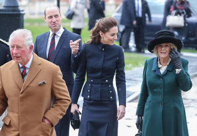 The Duke and Duchess of Cambridge walking with Charles and Camilla