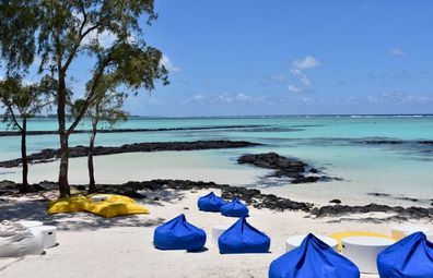 Bean bags on the beach in Mauritius