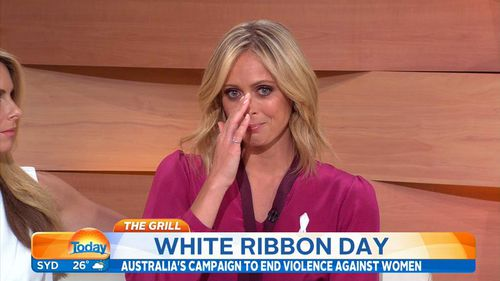 TODAY host, Sylvia Jeffreys, wipes away tears for her friend Rachelle Yeo, who was stabbed to death by her ex-boyfriend. (9NEWS)