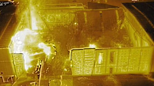 Infrared footage of the Moorebank factory fire.