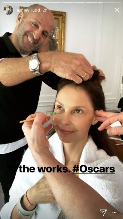 """ #theworks Oscars"" captioned Ashley Judd."