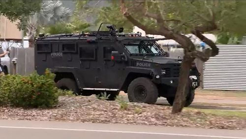 Tactical officers were called in to apprehend Rice in Kelso. Picture: 9NEWS