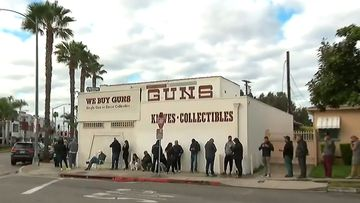 Lines of people have queued for hours to buy guns and ammunition, as fears of a coronavirus meltdown descend on Los Angeles.