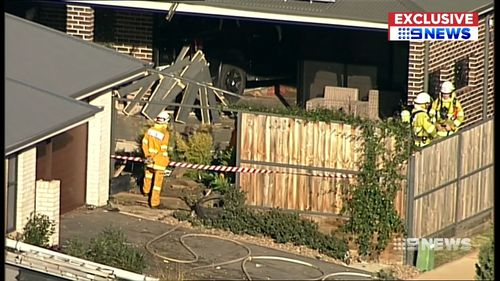 The ute ends up in this living room. Thankfully no one is injured. Picture: 9NEWS