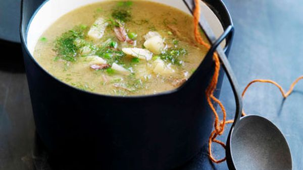 Lamb, pea and fennel soup