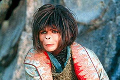 In order to properly play a primate in the <i>Planet of the Apes</i> remake, Helena Bonham Carter was buried in prosthetics to achieve this monkey snout.