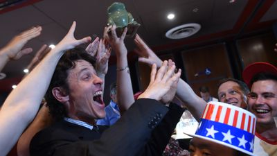 <p>Donald Trump supporters celebrate early results at the University of Sydney's Manning Bar.</p> <p>(AAP)</p>