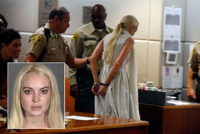 Lindsay Lohan's legal dramas continued in 2011, with the trouble star spending time behind bars (mere minutes of her 30-day sentence, thanks to overcrowding) for failing to complete her community service. The original sentence came after she was found guilty of shoplifting a pricey necklace.
