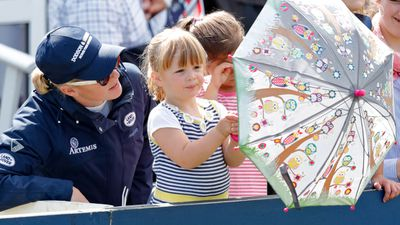 Mia Tindall with Zara Phillips at the Festival of British Eventing, August 2017