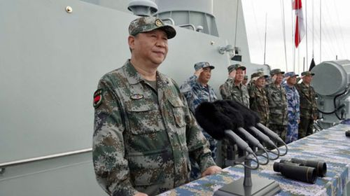 China President Xi  Jinping attended a naval exercise in the South China Sea last month. (AP).