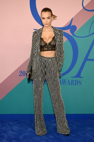 Josephine Skriver in Naeem Khan at the 2017 CFDA Awards.