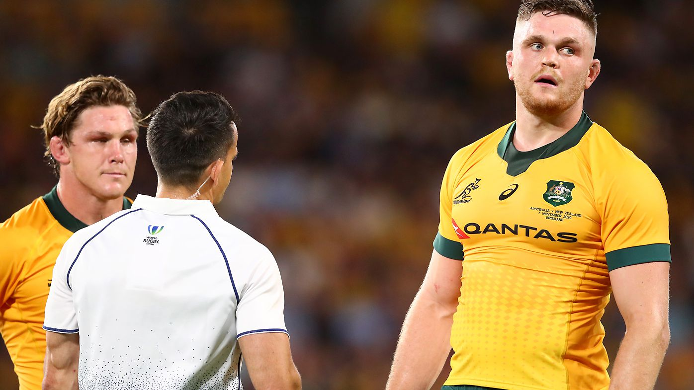 Lachlan Swinton of the Wallabies is sent off