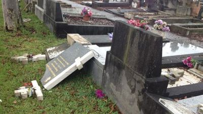 Tombstones were pushed over and smashed in the overnight attack. (Picture: Mimi Becker, 9NEWS)