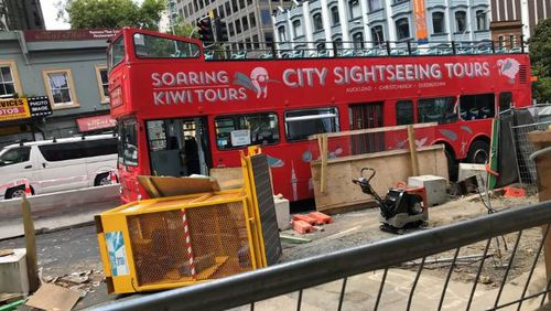 The bus was wedged between concrete barriers at the City Rail Link's planned Aotea Station.