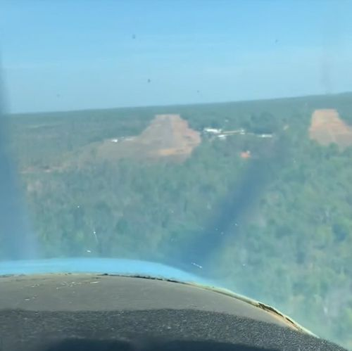 The view from the cockpit, just before the huntsman revealed itself above the pilot.