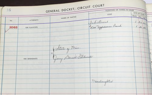 This July 30, 2018, photo shows a court docket with Jerry Darnell Glidewell pleading guilty to manslaughter in January 1960 to the 1959 killing of teenager William Roy Prather in Corinth, Miss
