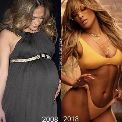 Jennifer Lopez (in 2009, pregnant with twins Max and Emme)