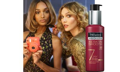 "At DVF, <a href=""https://www.priceline.com.au/tresemme-keratin-smooth-7-day-heat-activated-treatment-120-ml"" target=""_blank"">Tresemme's Keratin 7 Day Smooth Heat Activated Treatment</a> was applied to wet hair. Locks were then blow-dried with a round bristle brush to create a sleek finish."