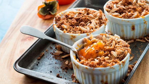 Poh's persimmon and amaretti crumble with mascarpone and aged balsamic