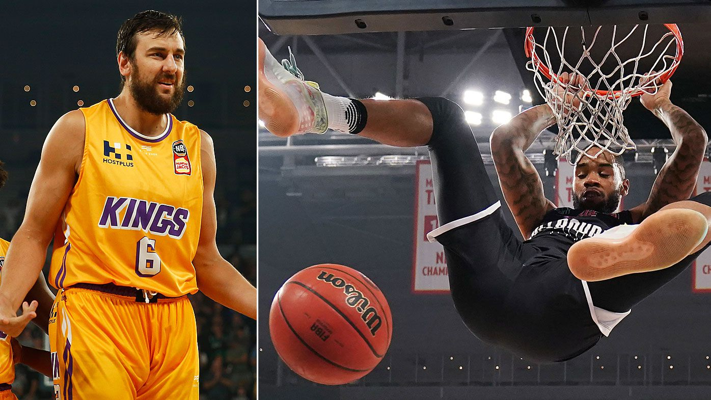 Andrew Bogut of the Kings reacts and Shaun Long of United slams, during game two of the NBL Semi Final Series