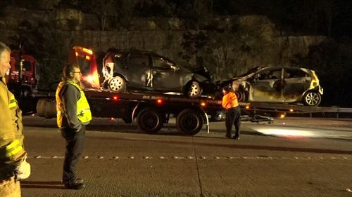 Five cars were caught up in the carnage. Picture: 9NEWS