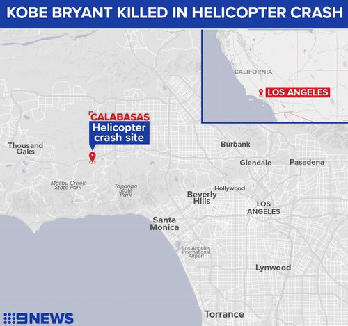 Map showing where Kobe Bryant was killed in a helicopter accident.
