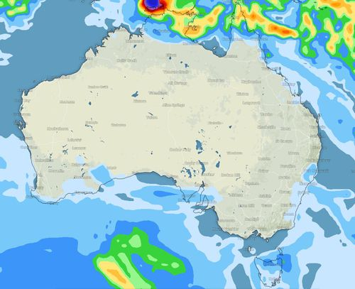 Most of Australia should remain dry this weekend, with low pressure cells staying near the top end. Picture: Weatherzone