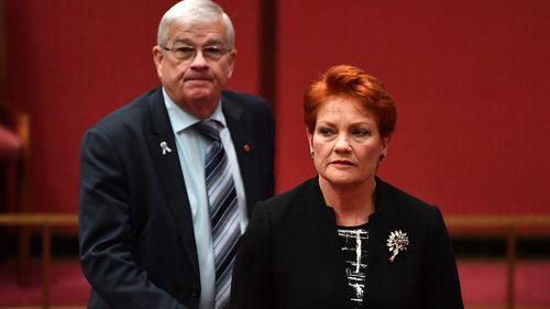 Brian Burston when he was a One Nation senator and his then-leader Pauline Hanson.