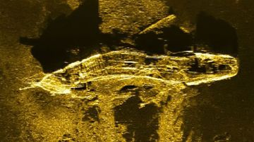 The sonar image of the shipwreck 3.7km underwater, picked up by an MH370 search vessel (Source: Australian Transport Safety Bureau)