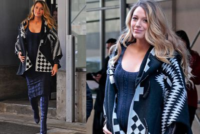 Blake warms up in this navy blue wrap at a New York City event.