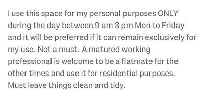 Bizarre rental ad claims tenant must leave property up to six hours a day - for $400 a week