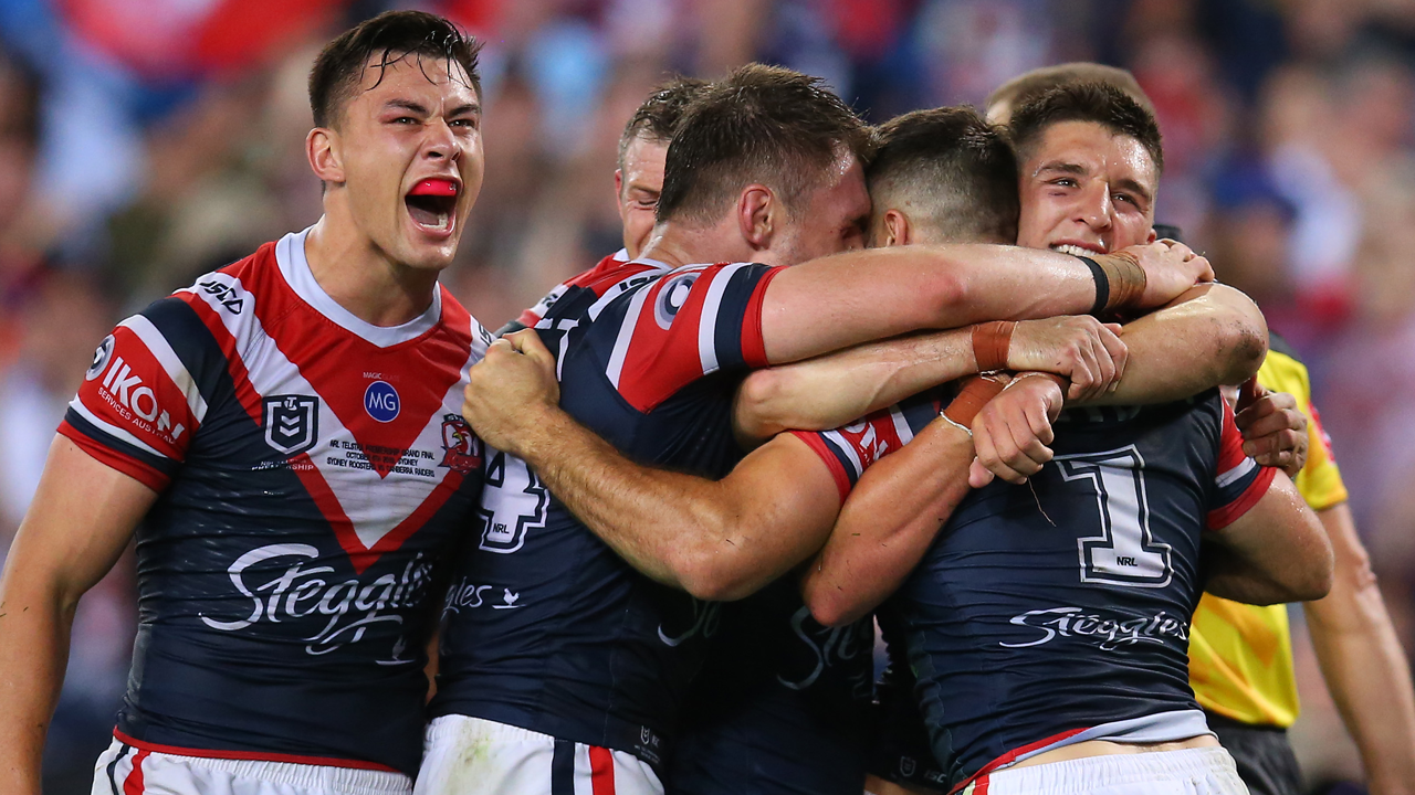 Roosters celebrate winning try