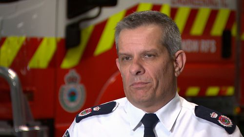 Rural Fire Service Rob Rogers has denied allegations of a 'turf war' between his service and Fire & Rescue NSW. Picture: 9NEWS