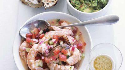 """Recipe:<a href=""""http://kitchen.nine.com.au/2016/05/19/15/22/prawn-ceviche-with-guacamole-and-white-corn-tortillas"""" target=""""_top"""">Prawn ceviche with guacamole and white corn tortillas</a>"""