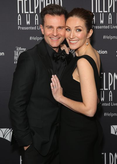 Today Extra host David Campbell in Calibre and theatre producer Lisa Campbell in Carla Zampatti at the Helpmann Awards 2017, Capitol Theatre, Sydney.