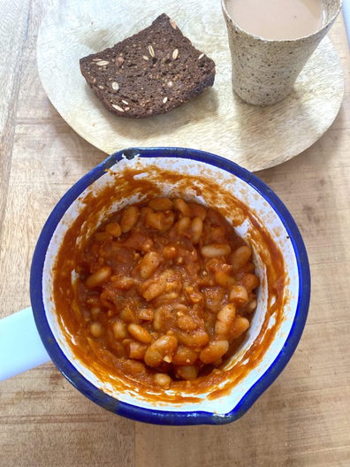 Healthy homemade baked beans on toast