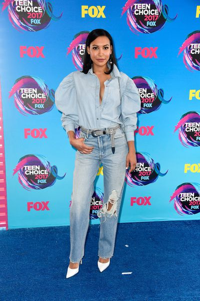 Naya Rivera in Marques Almeida blouse,GRLFNDdenim, aB-low the Beltbelt and Gianvito Rossishoes
