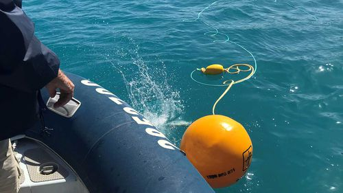 Shark control equipment being deployed at Sawmill Bay after two shark attacks in the Whitsundays.