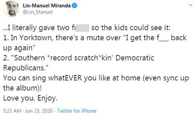 Lin-Manuel Miranda, tweet, Hamilton, censored, Disney Plus