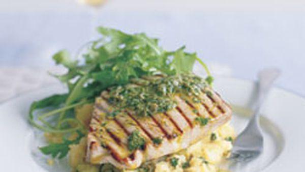 Seared tuna with kipfler smash and salsa verde