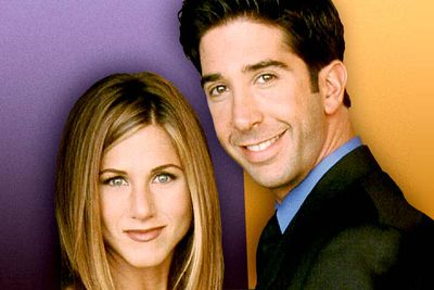 """<B>The URST:</B> Ross (David Schwimmer) and Rachel's (Jennifer Aniston) on-again off-again romance was the driving force behind <I>Friends</I>' decade-long run. They are TV's ultimate supercouple — the chemistry was always there, they just couldn't get it to work. They broke up for a long time after Ross slept with another woman (while they were """"on a break""""), though a one-night stand resulted in their baby Emma. Eventually they realised they were made for each other, just in time for the series finale."""