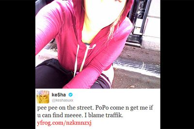 "For a pop-star with an IQ that just narrowly misses ""genius"", Kesha sure can gross us out. The young artist thought it appropriate to tweet this snap of her weeing in the street to more than 3.5 million followers. No thanks!<br/><br/><i>Image: Twitter @keshasuxx</i>"