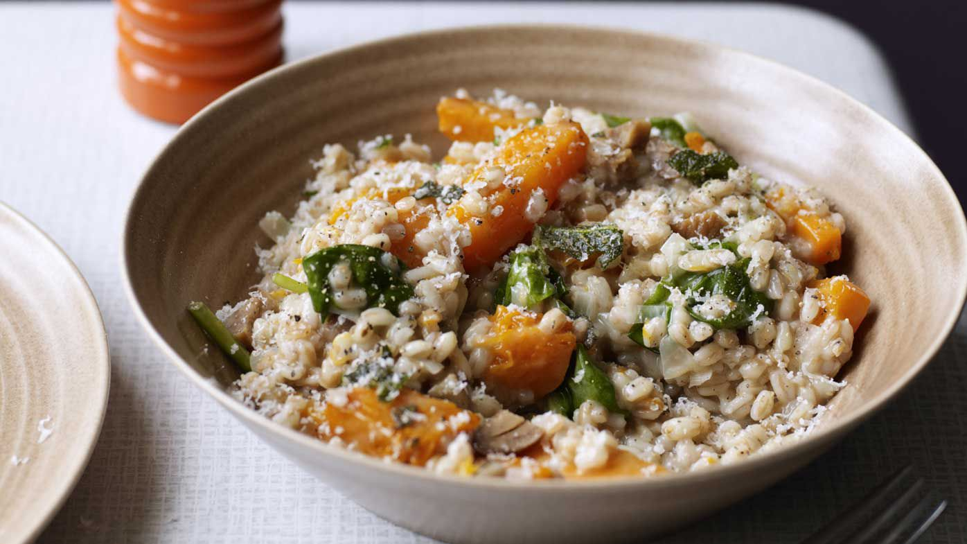 Spelt risotto with butternut pumpkin, spinach, chestnuts and goat's cheese. Image: Kyle Books