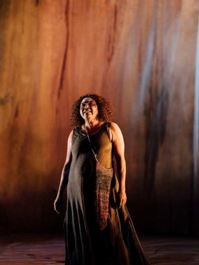 Indigenous actress Ningali Lawford-Wolf, performing on stage