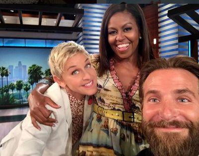 Ellen DeGeneres with Michelle Obama and Bradley Cooper.